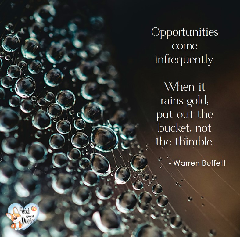 Opportunities come infrequently. When it rains gold, put out the bucket, not the thimble. - Warren Buffett quotes, Talking about money and investing, Warren Buffett quotes, Warren Buffett quote photos, best investing quotes, investment wisdom, stimulate interest in money, finance, and investing
